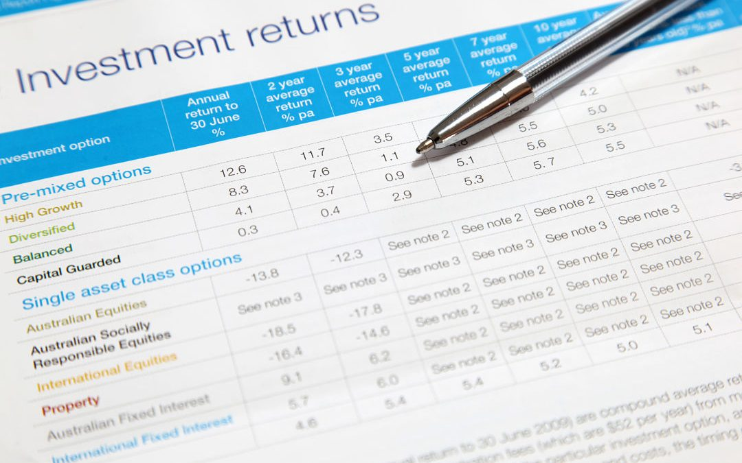 Picture of an investment return form with blue writing and titles.